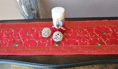 "Deep Red Luxury Silk Table Runner with Brocade Border in Gold 60"" x 12"""