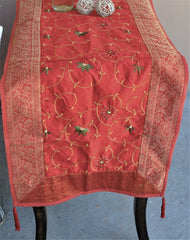 "Red Luxury Silk Table Runner with Brocade Border in Antique Gold 80"" x 20"""