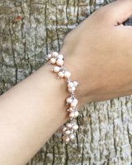 Delicate Peach Pearls Dangle Bracelet in 925 Sterling Silver