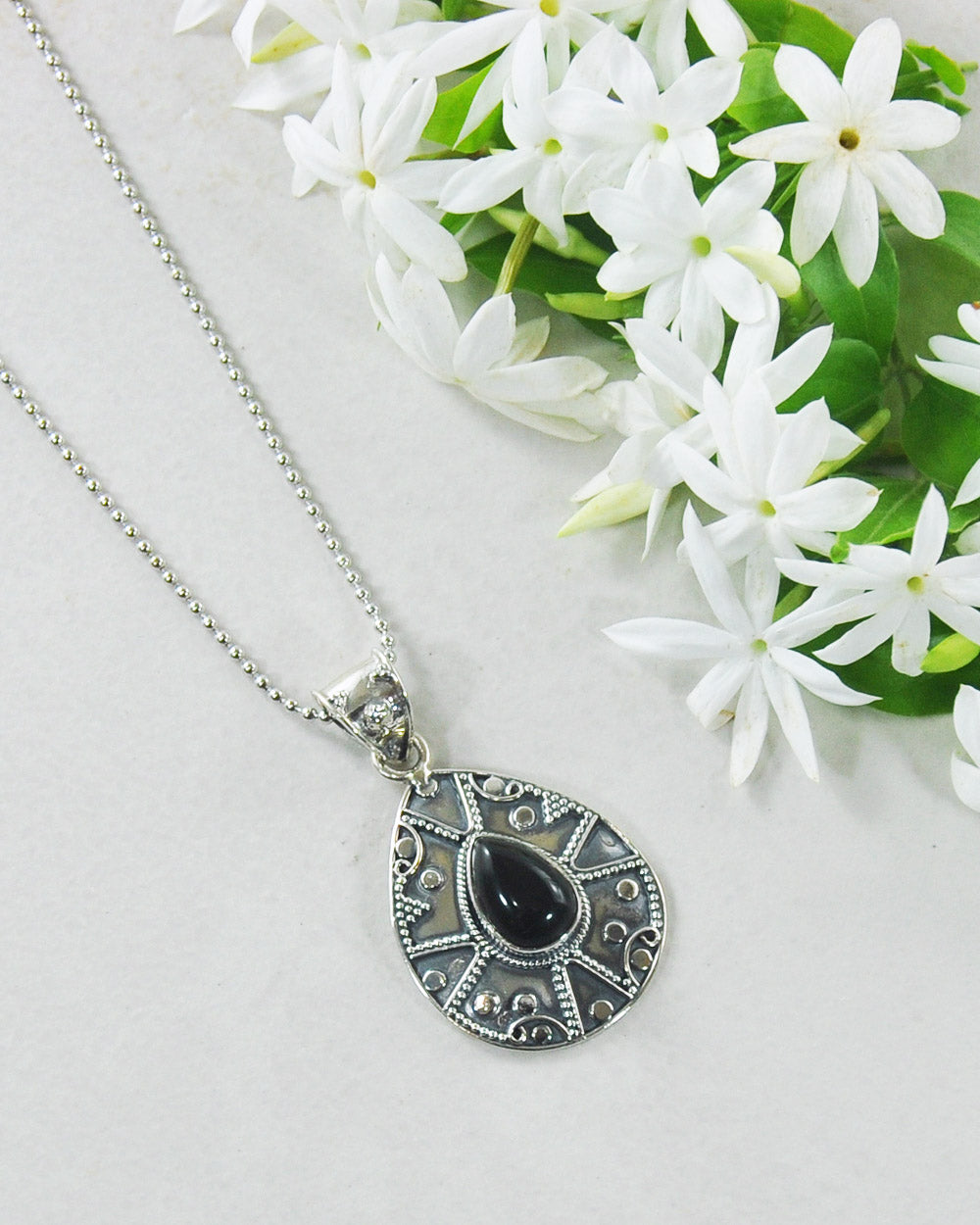 Desert Muse Sterling Silver Pendant Necklace - Black Onyx
