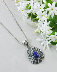 Desert Muse Sterling Silver Pendant Necklace - Lapis Lazuli