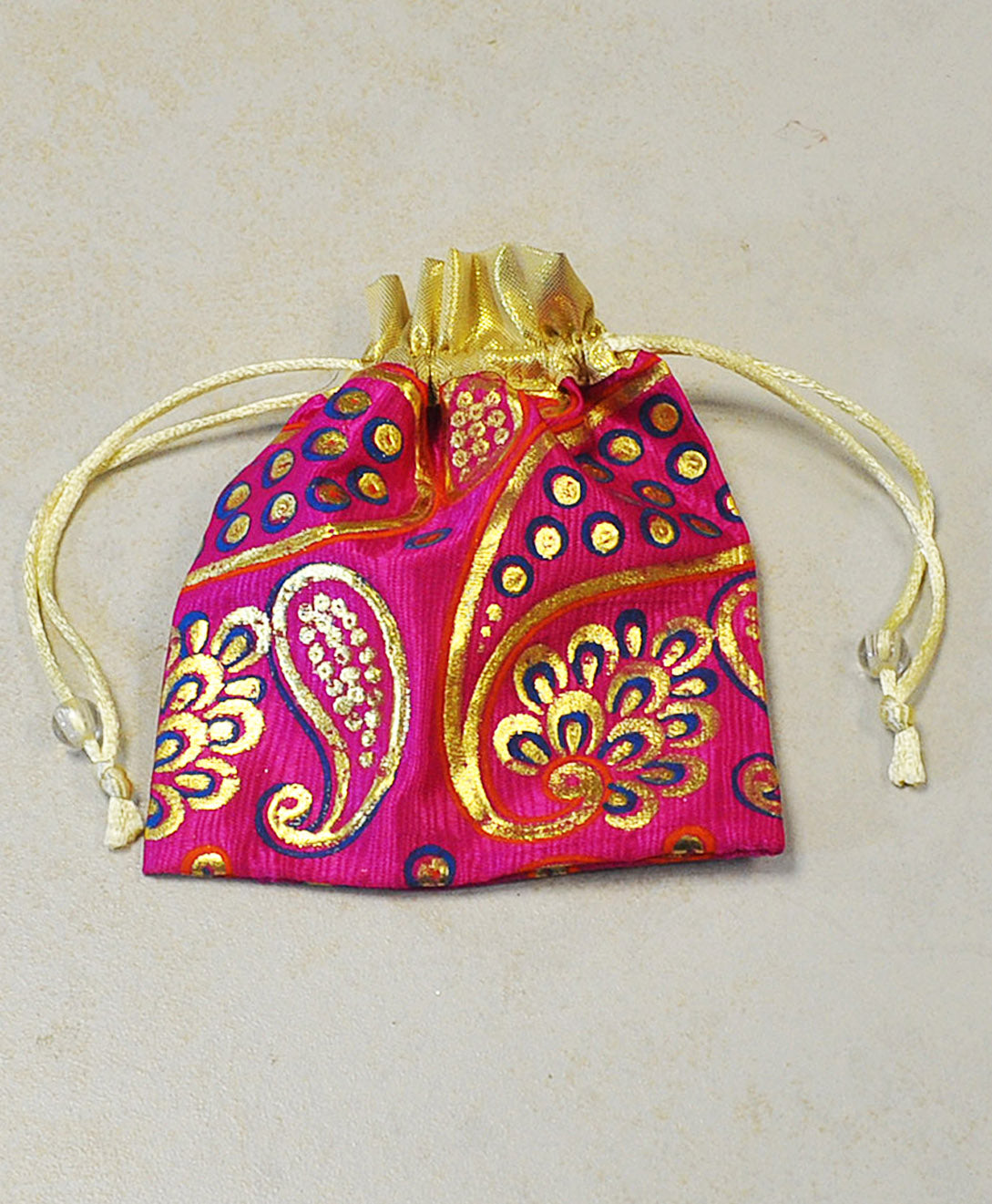 Pink and Gold Silk Gift Pouch