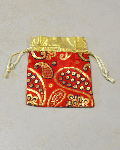 Red and Gold Silk Gift Pouch