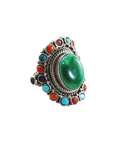 Malachite multi-gem Statement Ring Sterling Silver