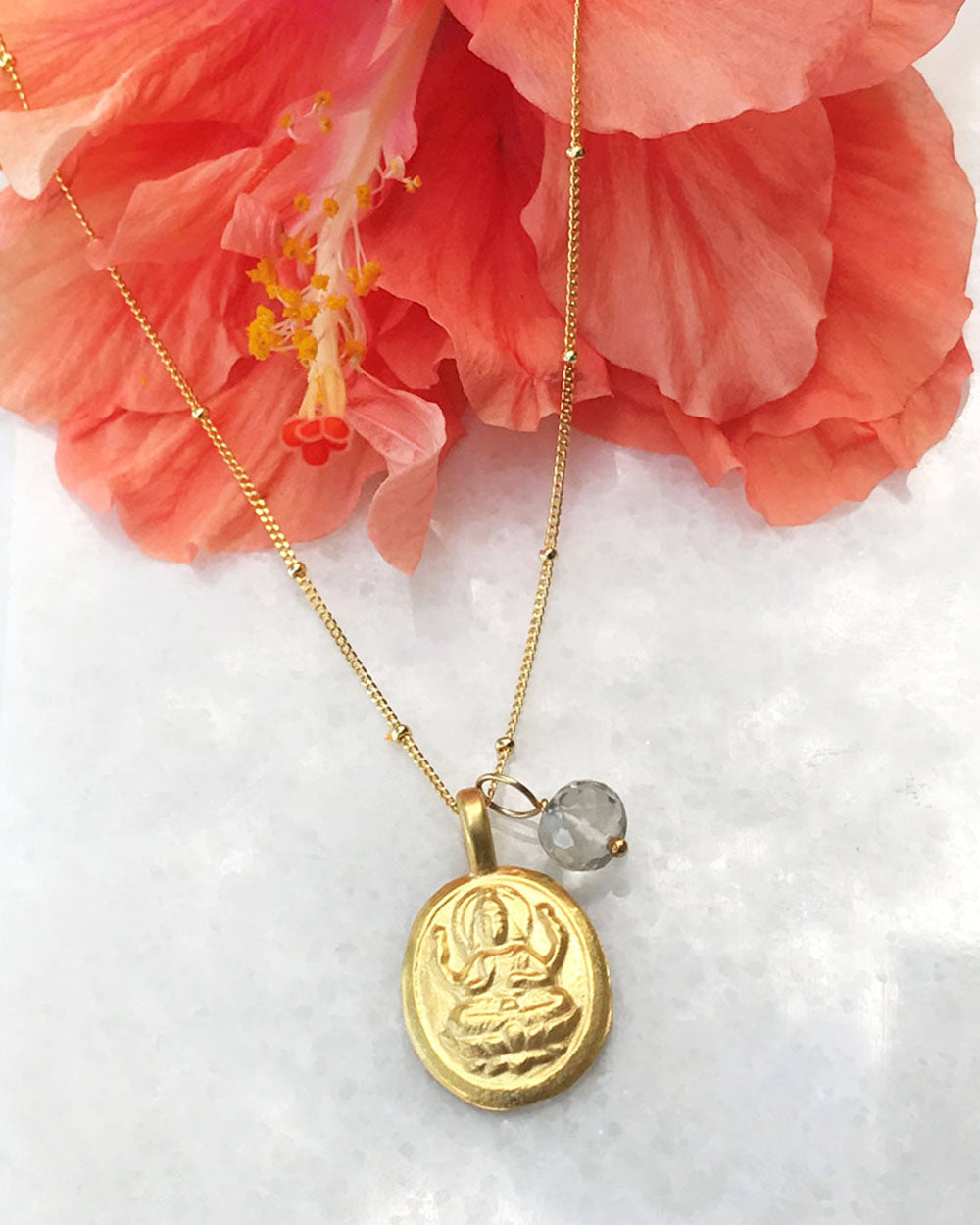 Divine Blessings Goddess Lakshmi Necklace Gold Vermeil