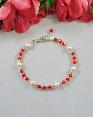 Divine Energy Red Crystal and Pearl Sterling Silver Bracelet