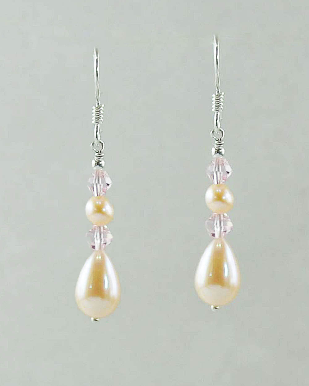 Double Pink Pearl and Crystals Drop Earrings Sterling Silver