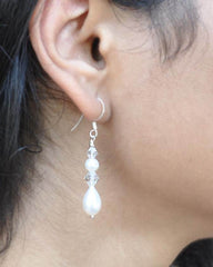 Double White Pearl and Crystals Drop Earrings Sterling Silver