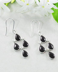 Earthly Elements Black Onyx Chandelier Earrings in Sterling Silver