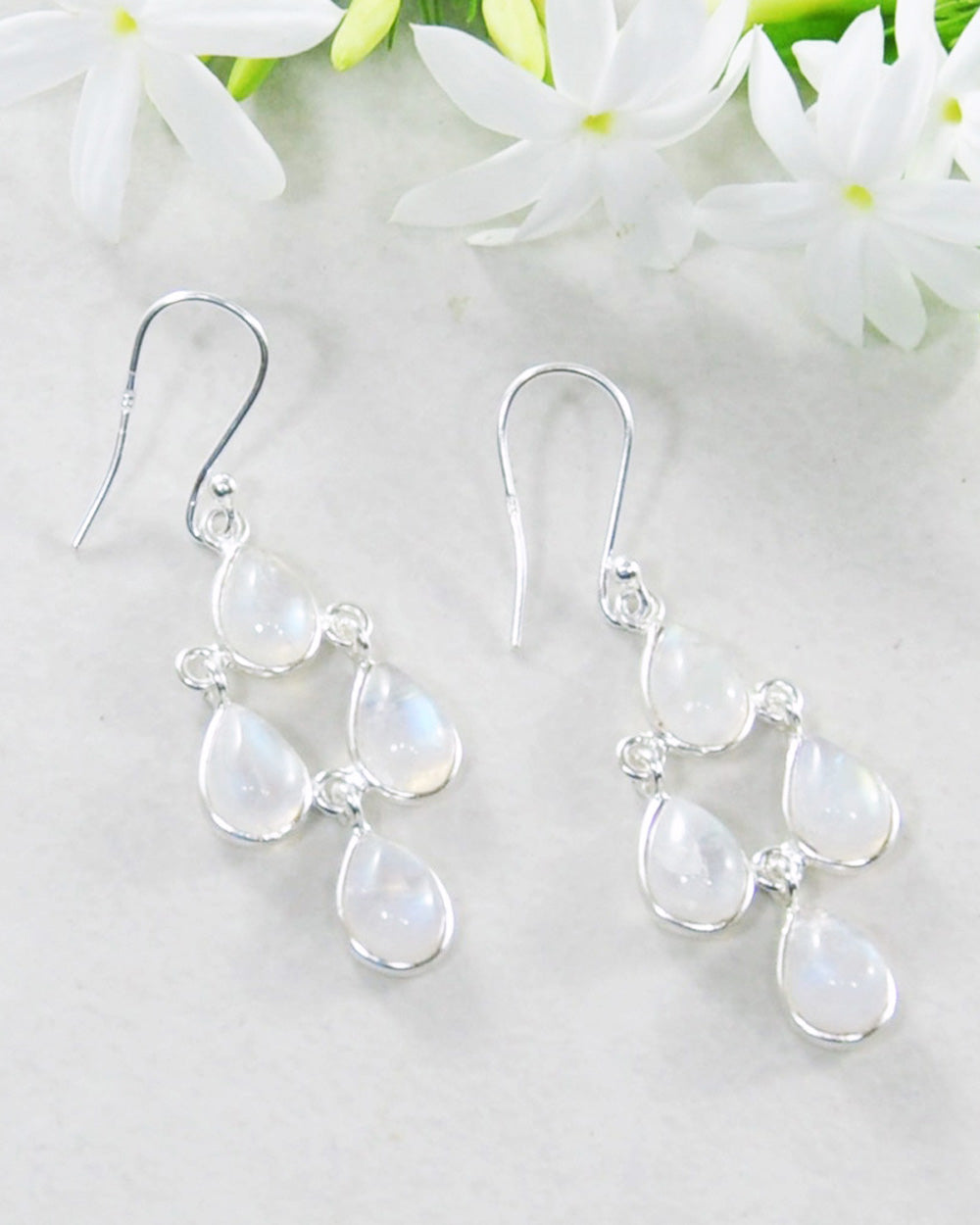 Earthly Elements Moonstone Chandelier Earrings in Sterling Silver