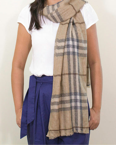 Checkered Fine Cashmere Scarf - Brown Beige