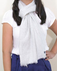 Fine Cashmere Scarf - Light Gray