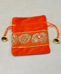 Orange and Gold Velvet Gift Pouch with Gold Sequins Embroidery