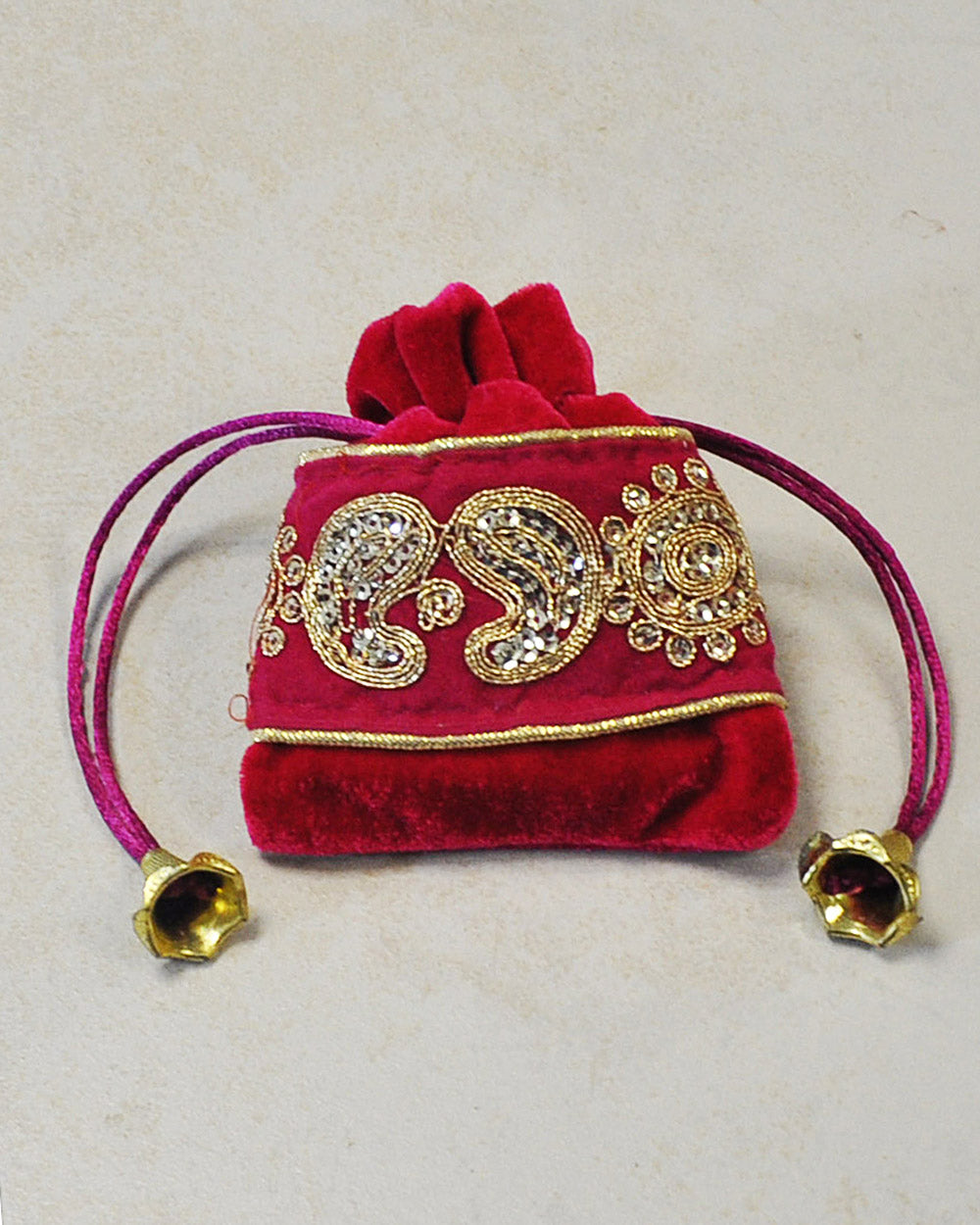 Pink and Gold Velvet Gift Pouch with Gold Sequins Embroidery