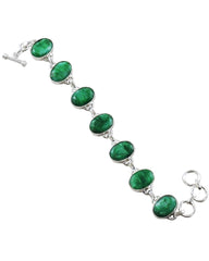 Splendor Raw Emerald Sterling Silver Link Bracelet