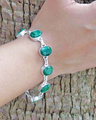 Raw Emerald Bracelet in Sterling Silver