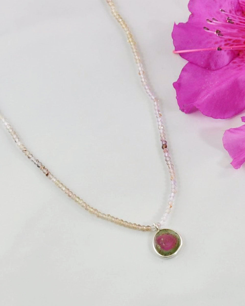 Empowered Watermelon Tourmaline Necklace - Abundance