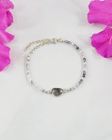 Empowered Black Rutilated Quartz Bracelet - Strength
