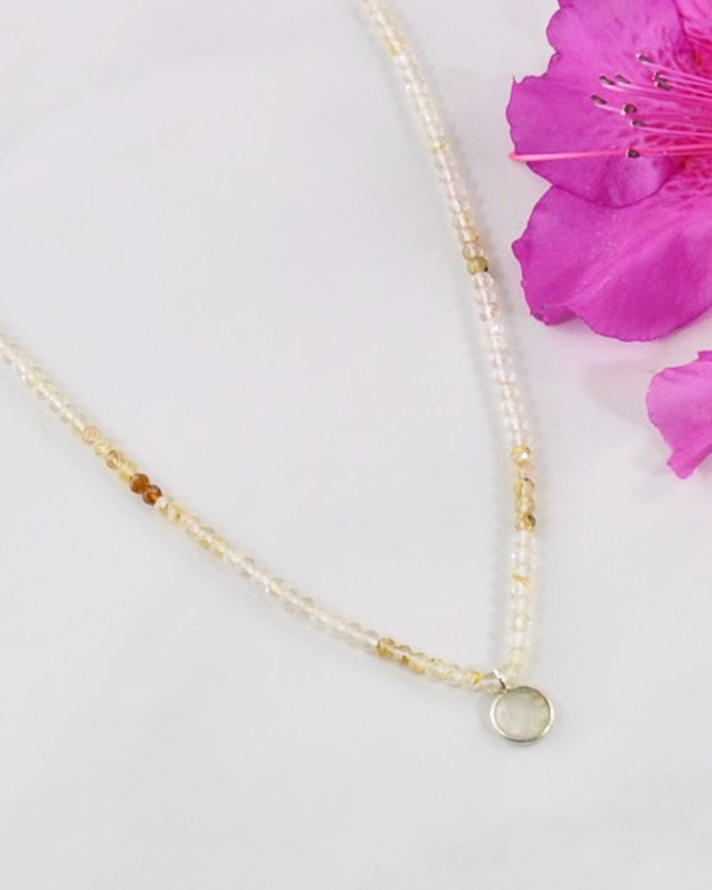 Empowered Gold Rutilated Quartz Necklace - Balance