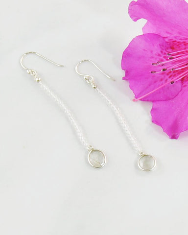 Empowered Dangle Drop Earrings -  Moonstone