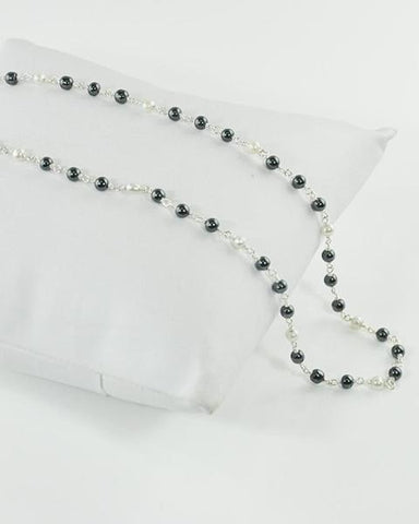 Faith Gray and White Pearl Sterling Silver Necklace