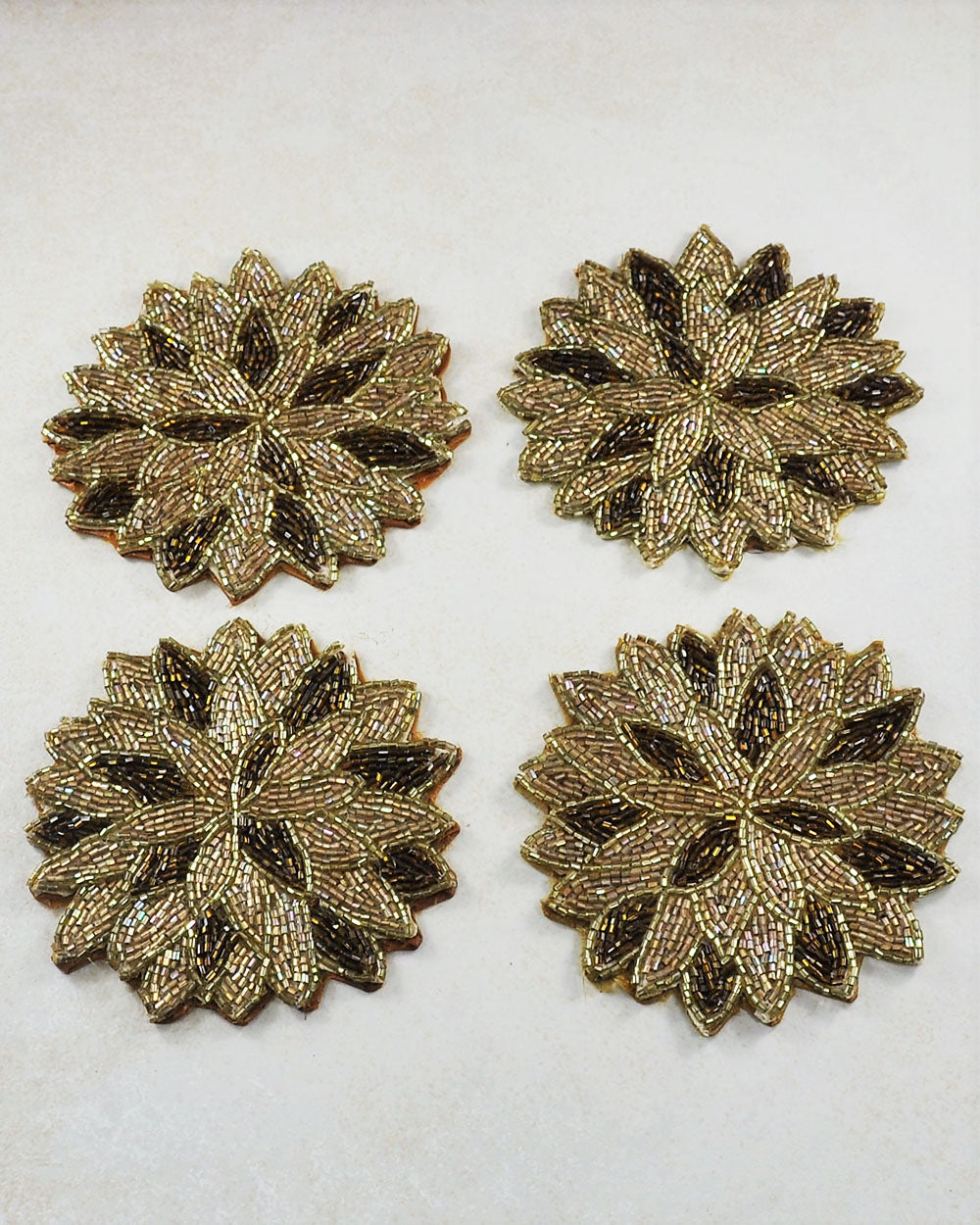 Gold Beaded Table Coaster Set of 4