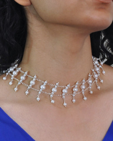 Grandiose White Pearls Choker Necklace in Sterling Silver