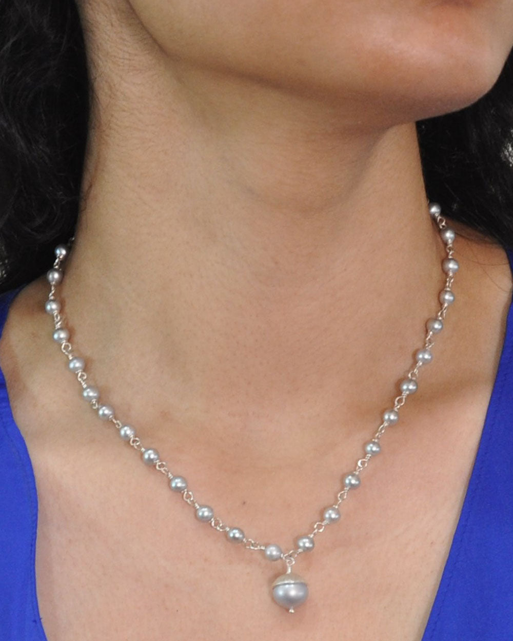 Gray Pearl Drop Necklace Sterling Silver