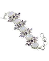 Harmony Moonstone and Amethyst 925 Sterling Silver Bracelet