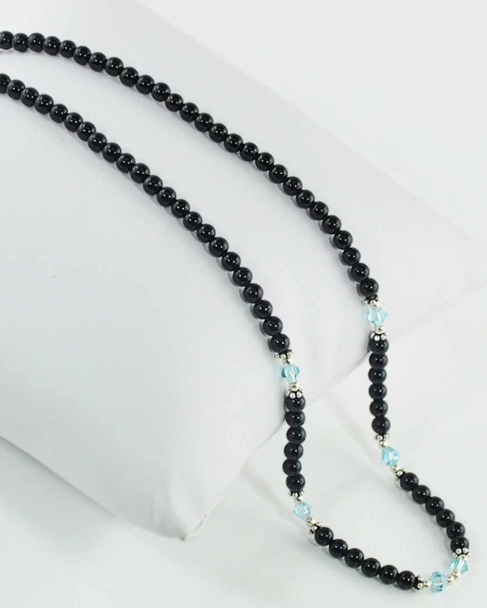 Inspiration Blue Crystals and Black Onyx Necklace