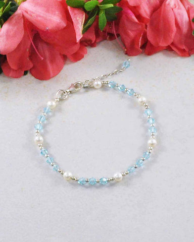 Inspiration Blue Crystal and Pearl Sterling Silver Bracelet