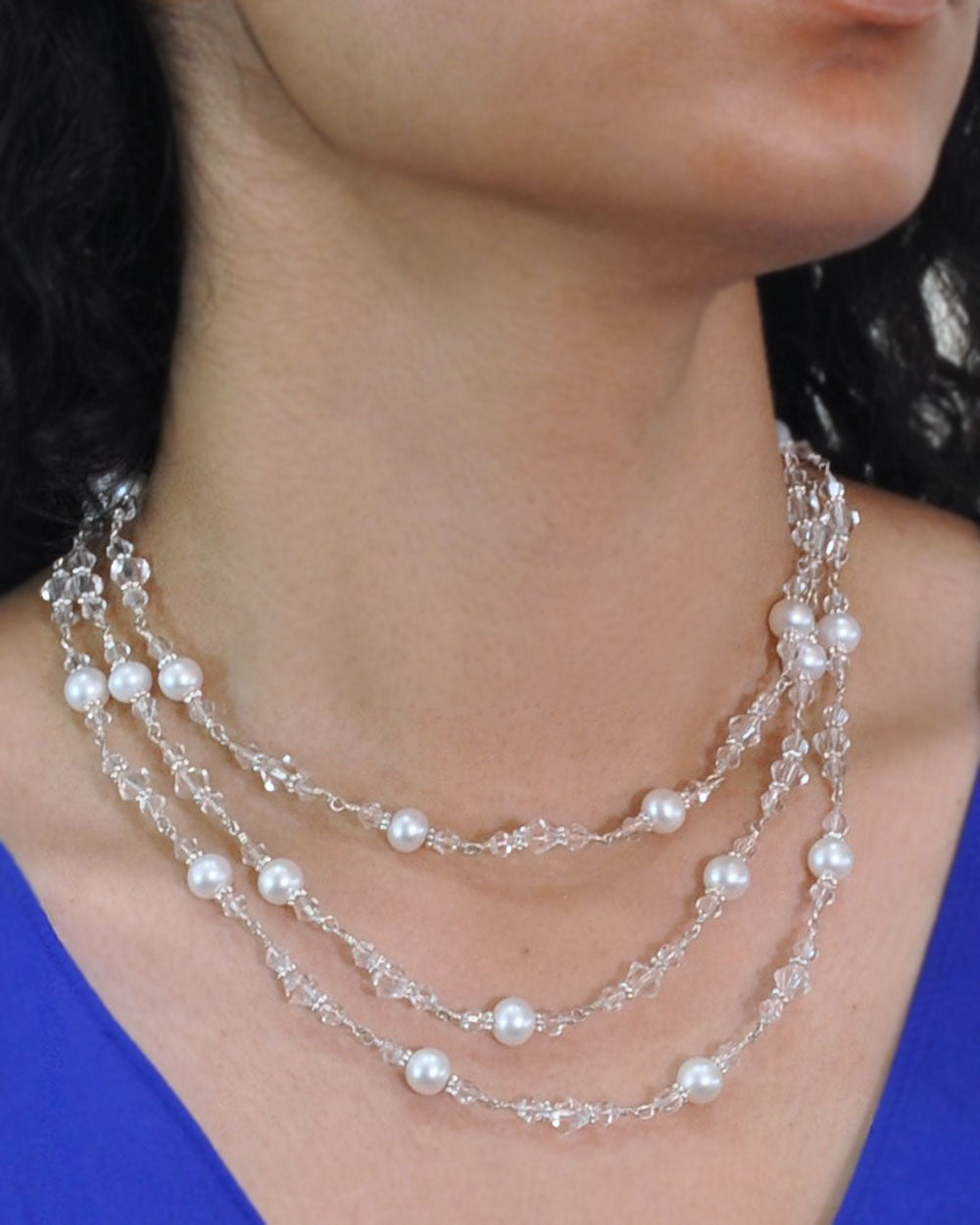 Iridescent White Crystals and Pearls Multi Layered Necklace