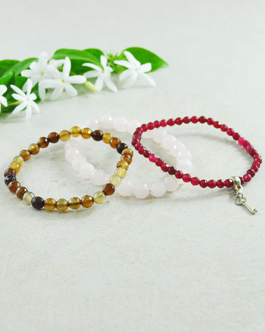 Key to Good Fortune Mini Gemstone Bracelet Set