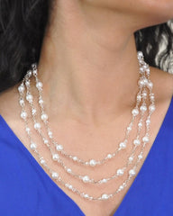 Luminous White Pearls and Crystals Multi Layered Necklace
