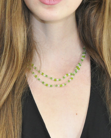 Manifest Wealth Green Crystals Layered Necklace
