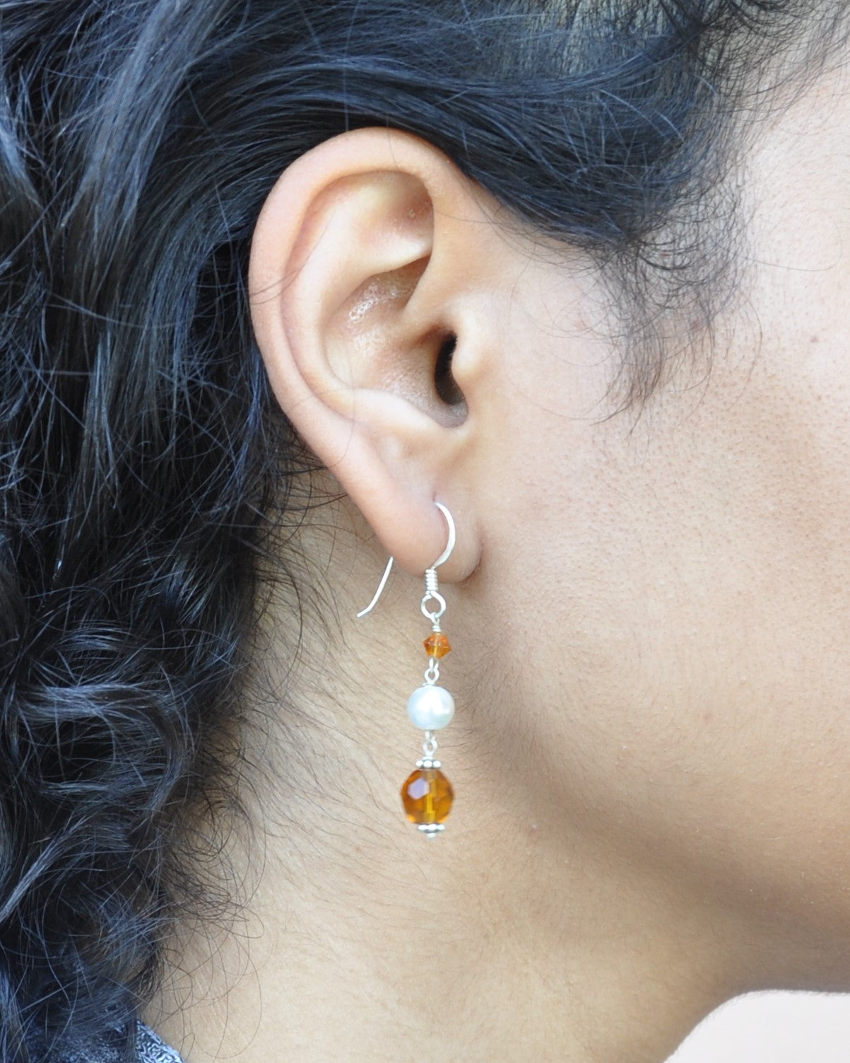 Manifest Abundance Pearl and Amber Crystals Earrings Sterling Silver