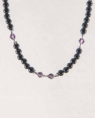 Mindfulness Purple Crystals and Black Onyx Necklace