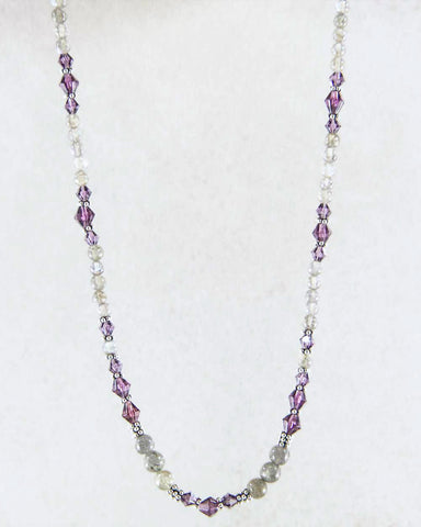Mindfulness Purple Crystals and Labradorite Necklace