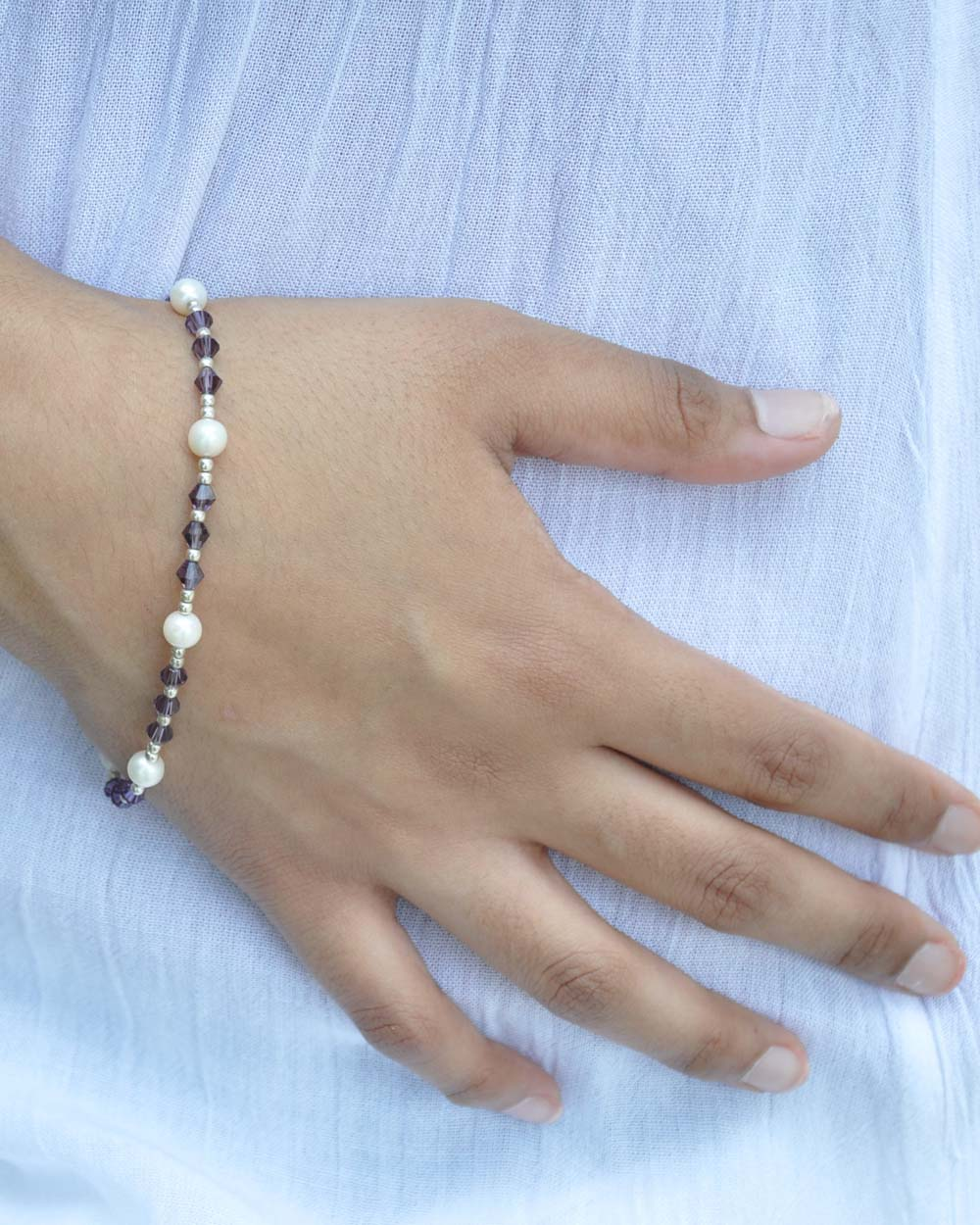 Mindfulness Purple Crystal and Pearl Sterling Silver Bracelet