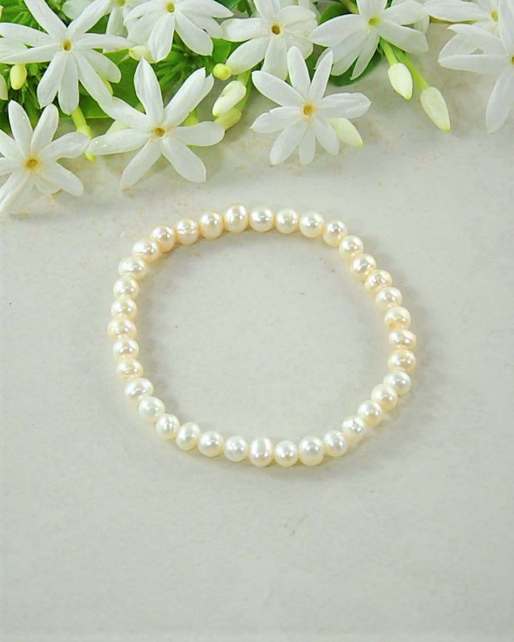 White Pearl Mini Gemstone Energy Bracelet