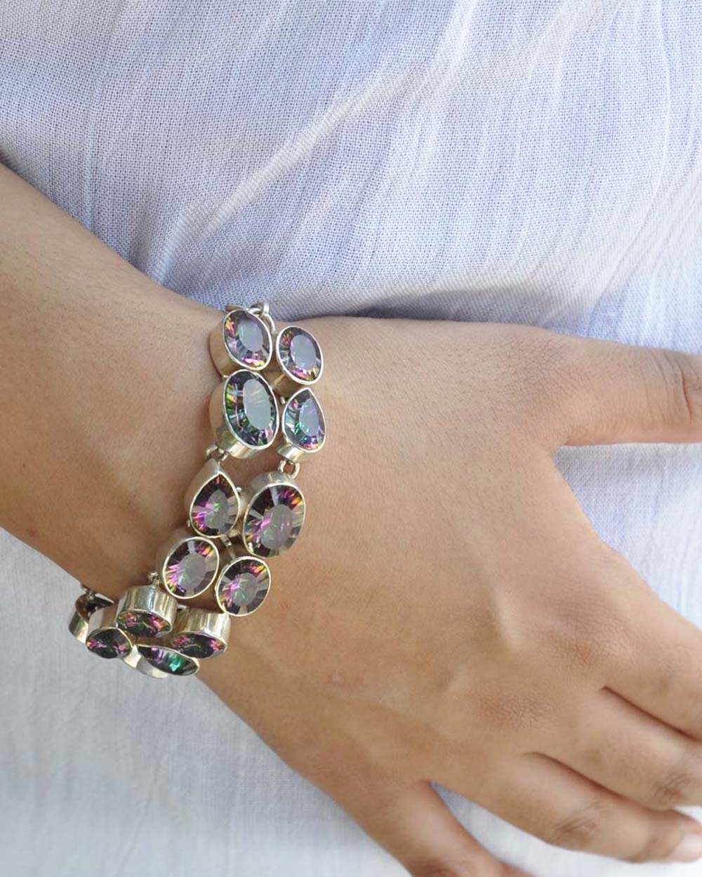 Mystic Topaz Multi-Gem Bracelet in Sterling Silver