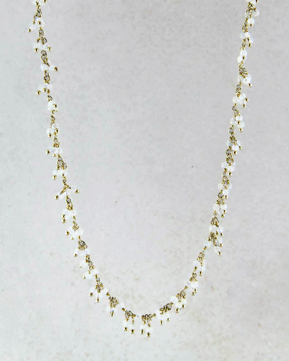 Mystical Raindrops Moonstone Necklace Gold Vermeil