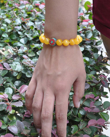 Natural Yellow Jade Large Crystal Bracelet