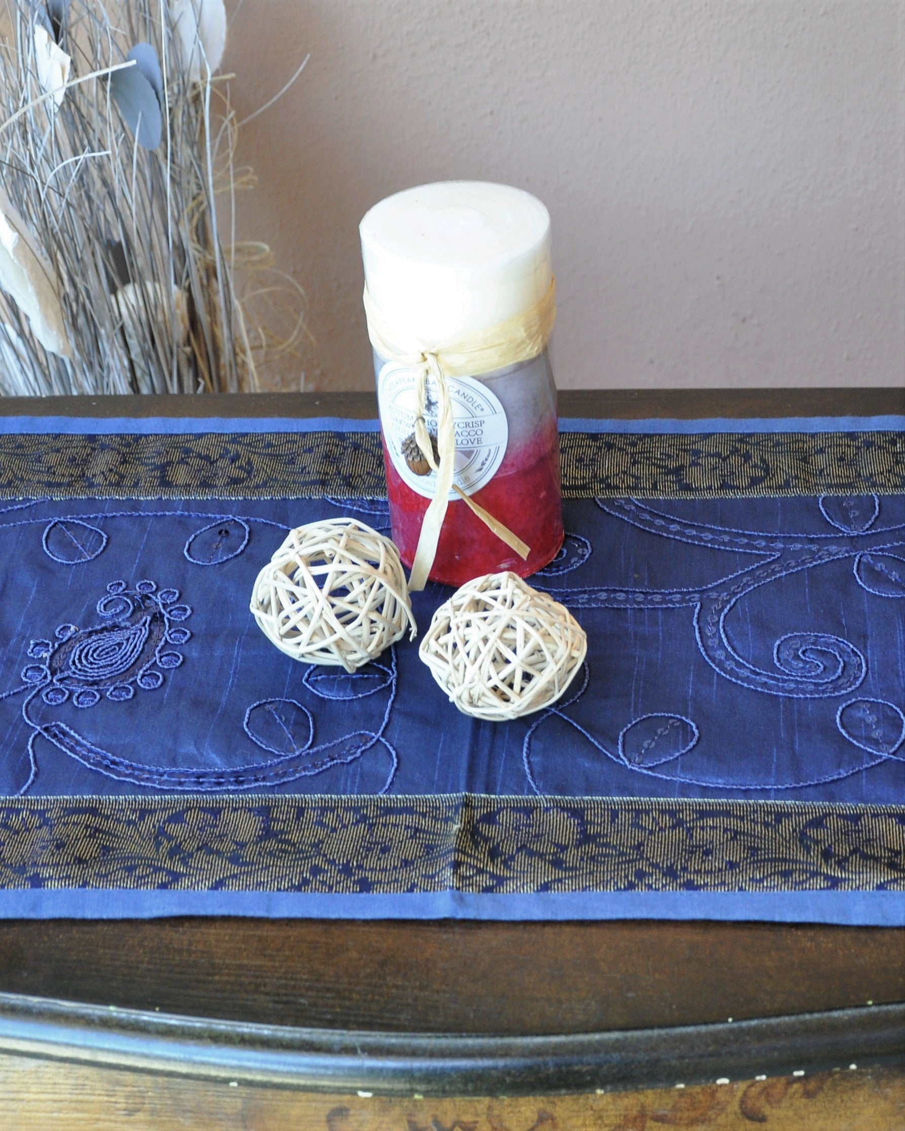 "Navy Blue Luxury Silk Table Runner with Sequins Embroidery and Antique Gold Brocade Border 60"" x 12"""