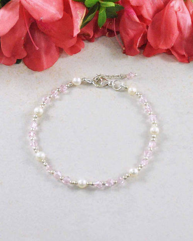 New Love Pink Crystals and Pearl Sterling Silver Bracelet