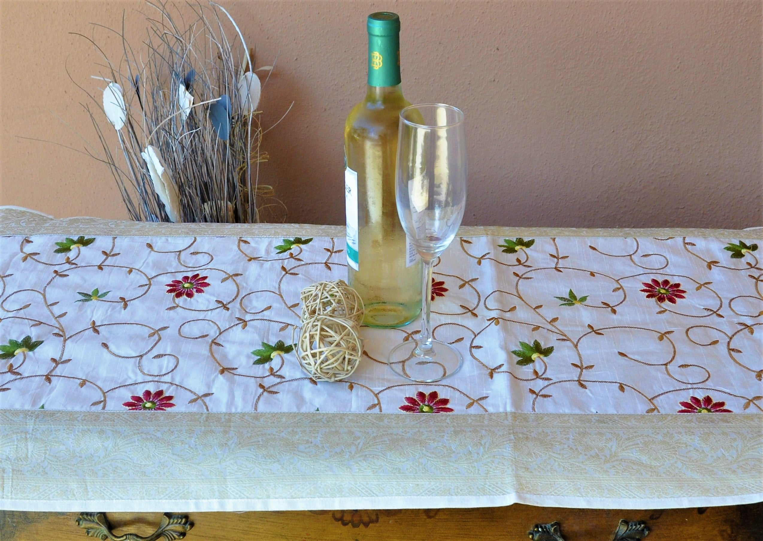 "Vintage White Luxury Silk Table Runner with Brocade Border - 80"" x 20"""