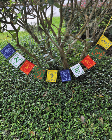 Om Mani Padme Hum Tibetan Prayer Flags - Medium