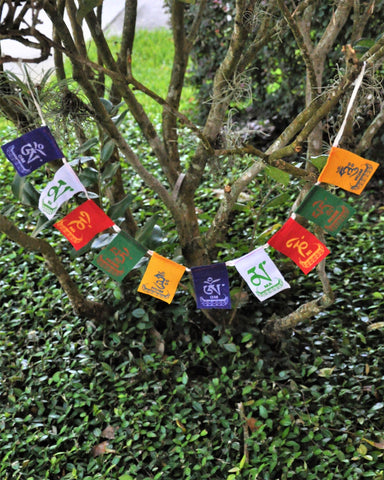 Om Mani Padme Hum Tibetan Prayer Flags - Mini