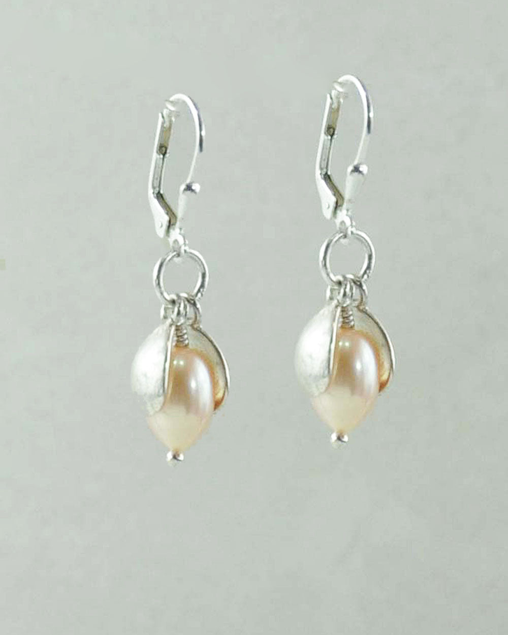 Peach Pearl Dangling Earrings in Sterling Silver