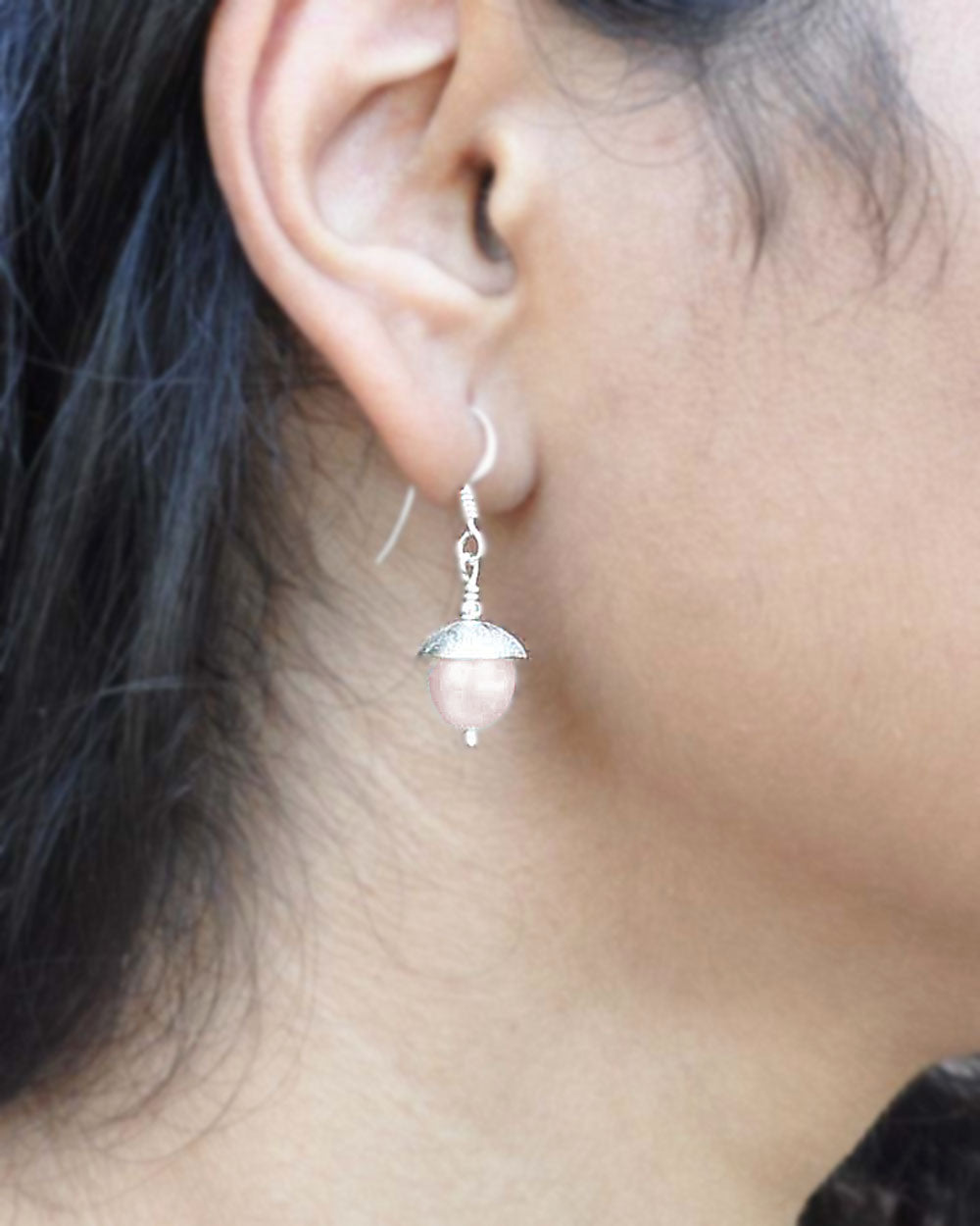 Peach Pearl Drop Earrings in Sterling Silver